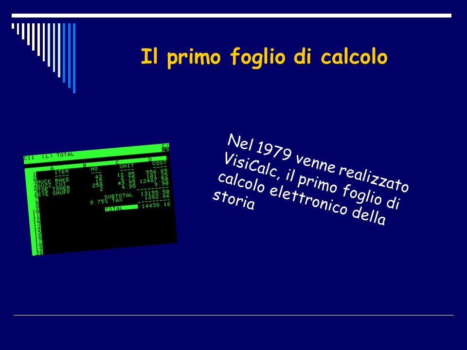Il primo foglio di calcolo Nel 1979 venne realizzato VisiCalc, il primo foglio di calcolo elettronico della storia
