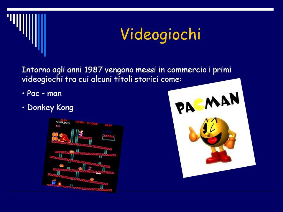 Videogiochi Intorno agli anni 1987 vengono messi in commercio i primi videogiochi tra cui alcuni titoli storici come: Pac - man Donkey Kong
