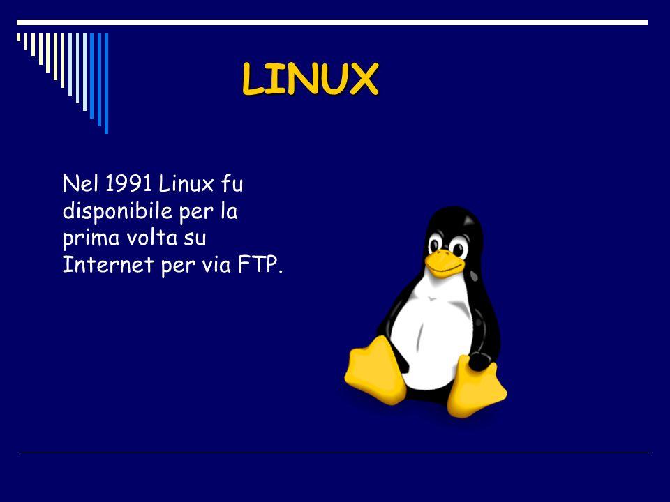 Nel 1991 Linux fu disponibile per la prima volta su Internet per via FTP. LINUX
