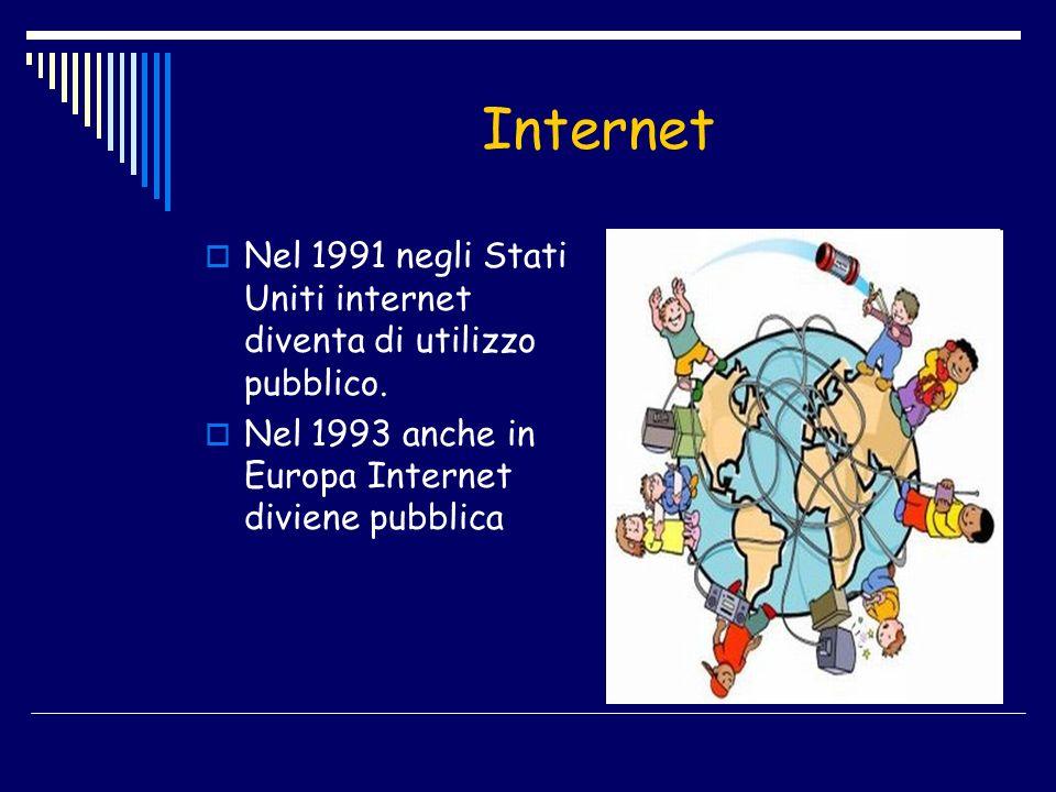 Internet Nel 1991 negli Stati Uniti internet diventa di utilizzo pubblico. Nel 1993 anche in Europa Internet diviene pubblica