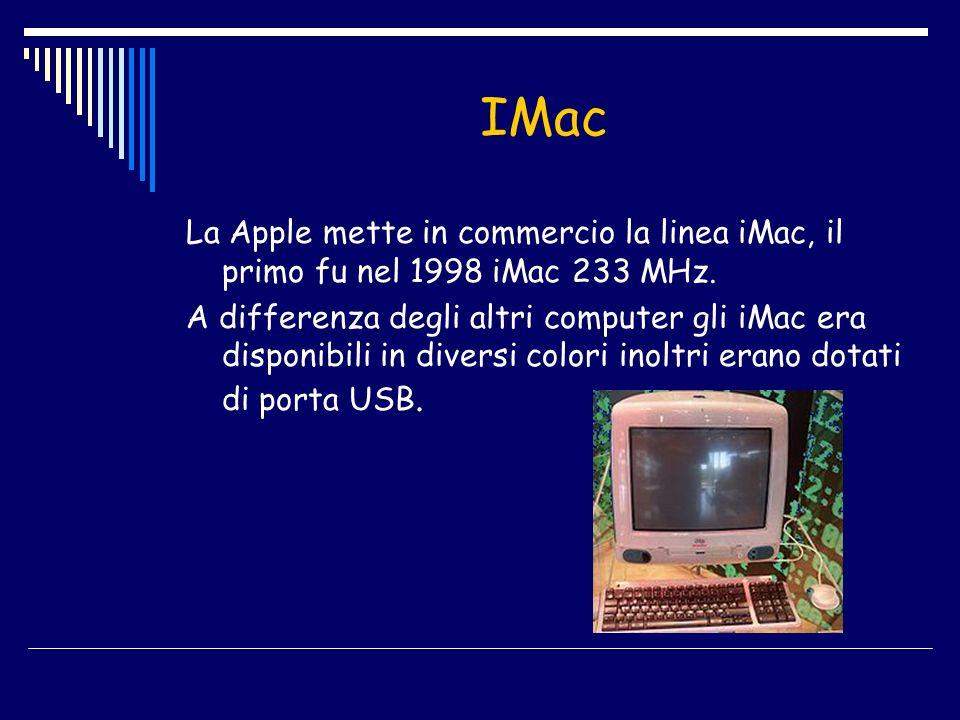 IMac La Apple mette in commercio la linea iMac, il primo fu nel 1998 iMac 233 MHz. A differenza degli altri computer gli iMac era disponibili in diver