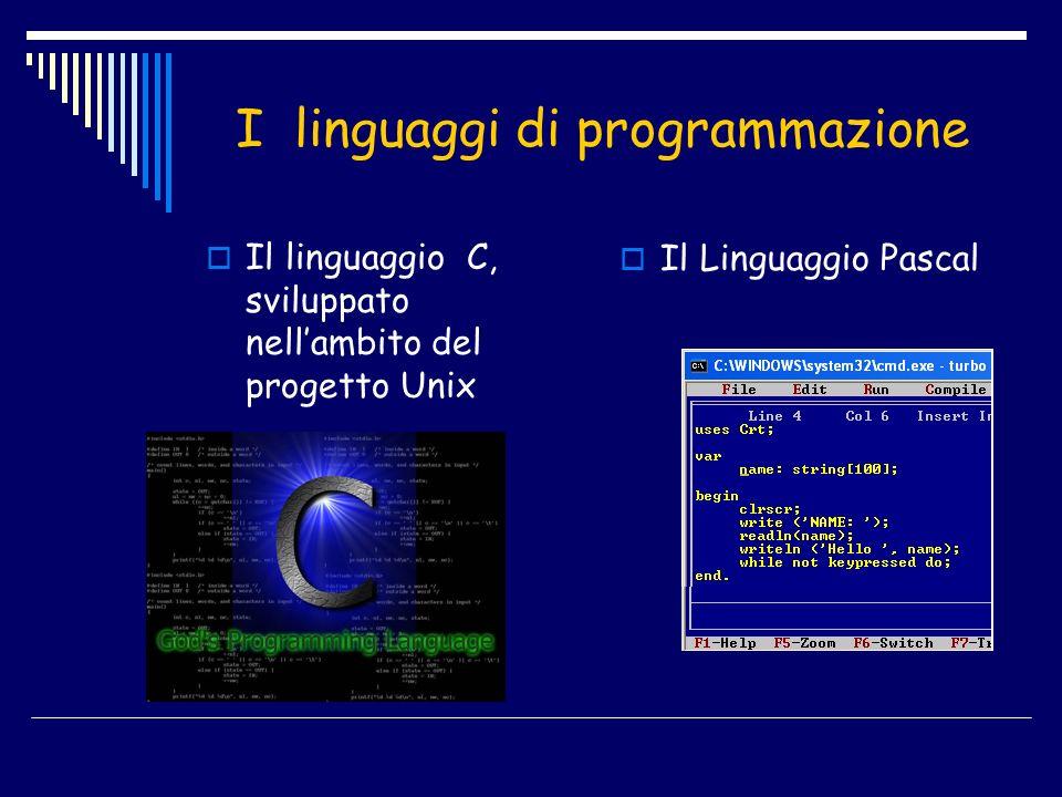 I linguaggi di programmazione Il Linguaggio Pascal Il linguaggio C, sviluppato nellambito del progetto Unix