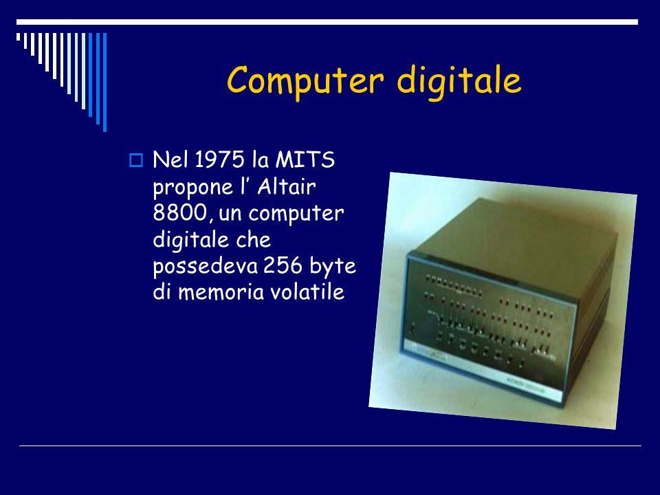 Computer digitale Nel 1975 la MITS propone l Altair 8800, un computer digitale che possedeva 256 byte di memoria volatile