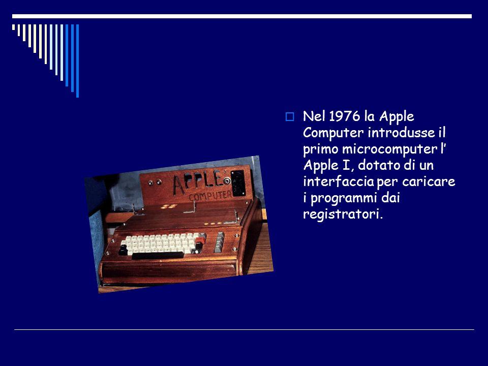 Nel 1976 la Apple Computer introdusse il primo microcomputer l Apple I, dotato di un interfaccia per caricare i programmi dai registratori.