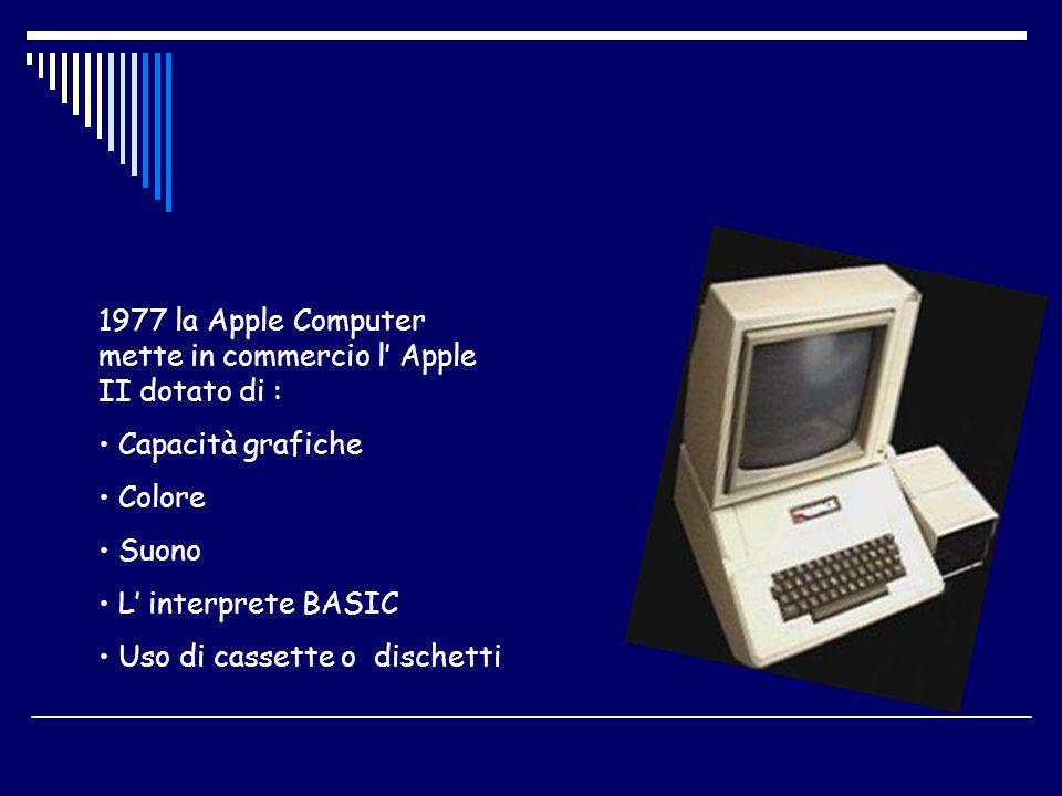 1977 la Apple Computer mette in commercio l Apple II dotato di : Capacità grafiche Colore Suono L interprete BASIC Uso di cassette o dischetti