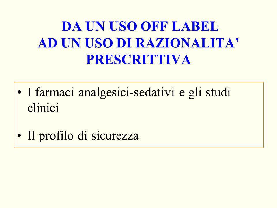 DA UN USO OFF LABEL AD UN USO DI RAZIONALITA PRESCRITTIVA I farmaci analgesici-sedativi e gli studi clinici Il profilo di sicurezza