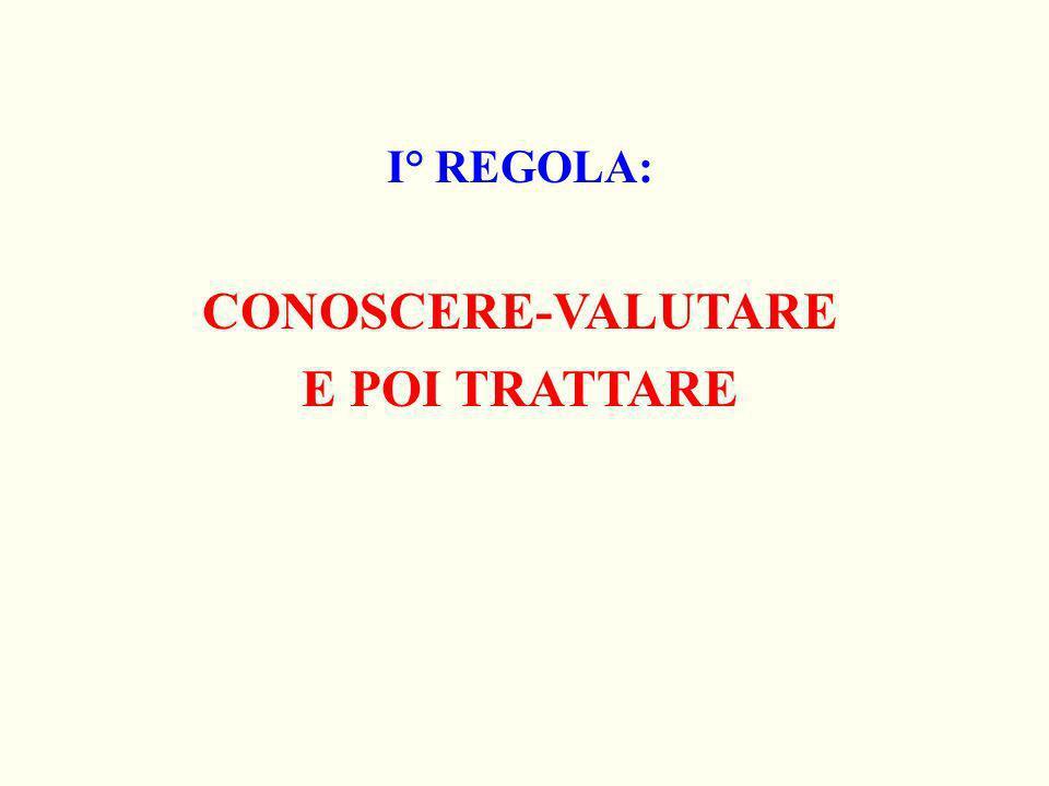 I° REGOLA: CONOSCERE-VALUTARE E POI TRATTARE