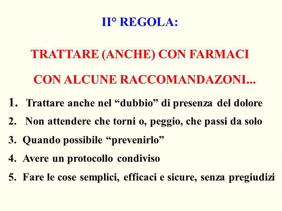 II° REGOLA: TRATTARE (ANCHE) CON FARMACI CON ALCUNE RACCOMANDAZONI... 1. Trattare anche nel dubbio di presenza del dolore 2. Non attendere che torni o