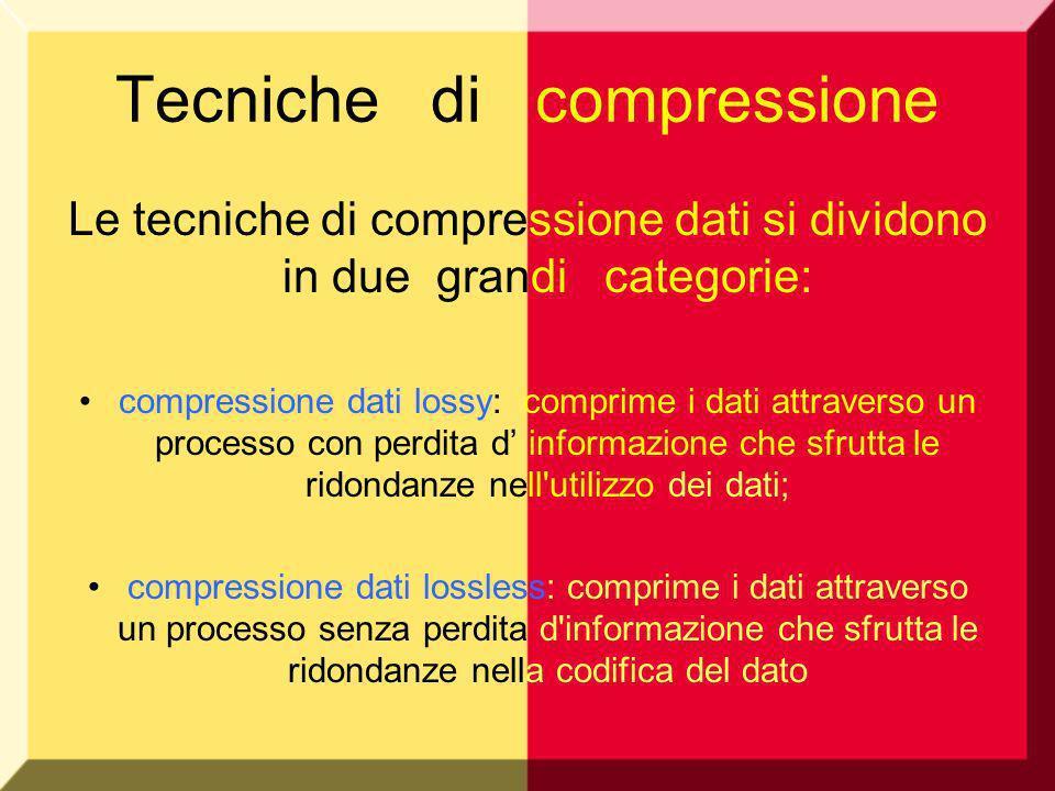 Tecniche di compressione Le tecniche di compressione dati si dividono in due grandi categorie: compressione dati lossy: comprime i dati attraverso un