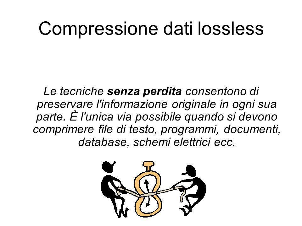 Compressione dati lossless Le tecniche senza perdita consentono di preservare l'informazione originale in ogni sua parte. È l'unica via possibile quan