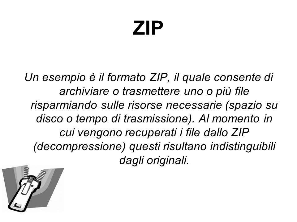 ZIP Un esempio è il formato ZIP, il quale consente di archiviare o trasmettere uno o più file risparmiando sulle risorse necessarie (spazio su disco o