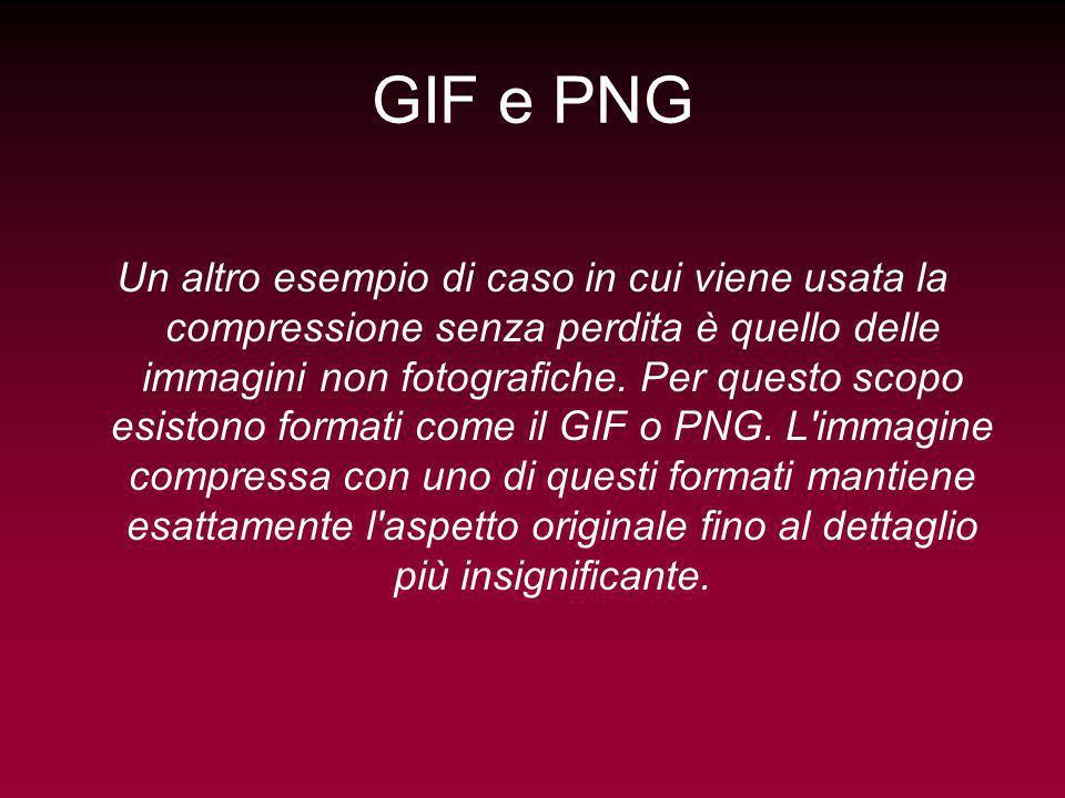 GIF e PNG Un altro esempio di caso in cui viene usata la compressione senza perdita è quello delle immagini non fotografiche. Per questo scopo esiston