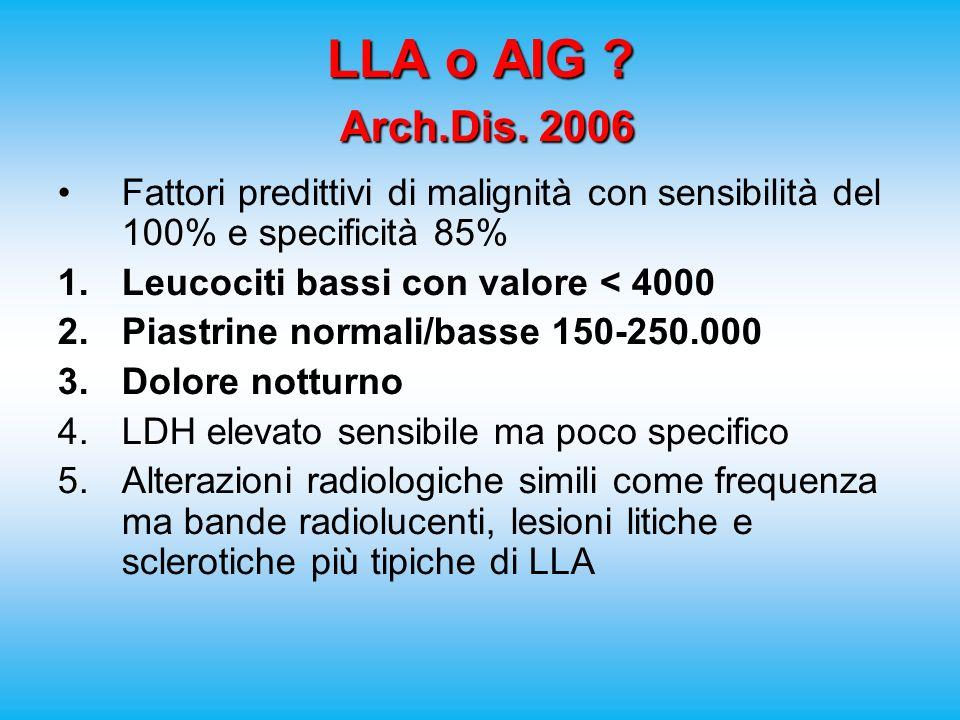 LLA o AIG ? Arch.Dis. 2006 Fattori predittivi di malignità con sensibilità del 100% e specificità 85% 1.Leucociti bassi con valore < 4000 2.Piastrine