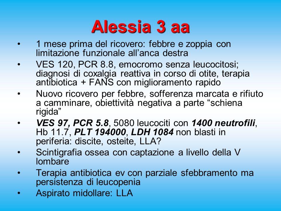 Alessia 3 aa 1 mese prima del ricovero: febbre e zoppia con limitazione funzionale allanca destra VES 120, PCR 8.8, emocromo senza leucocitosi; diagnosi di coxalgia reattiva in corso di otite, terapia antibiotica + FANS con miglioramento rapido Nuovo ricovero per febbre, sofferenza marcata e rifiuto a camminare, obiettività negativa a parte schiena rigida VES 97, PCR 5.8, 5080 leucociti con 1400 neutrofili, Hb 11.7, PLT 194000, LDH 1084 non blasti in periferia: discite, osteite, LLA.