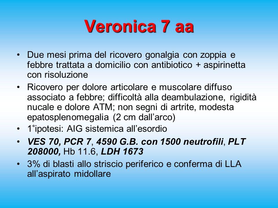 Veronica 7 aa Due mesi prima del ricovero gonalgia con zoppia e febbre trattata a domicilio con antibiotico + aspirinetta con risoluzione Ricovero per dolore articolare e muscolare diffuso associato a febbre; difficoltà alla deambulazione, rigidità nucale e dolore ATM; non segni di artrite, modesta epatosplenomegalia (2 cm dallarco) 1°ipotesi: AIG sistemica allesordio VES 70, PCR 7, 4590 G.B.
