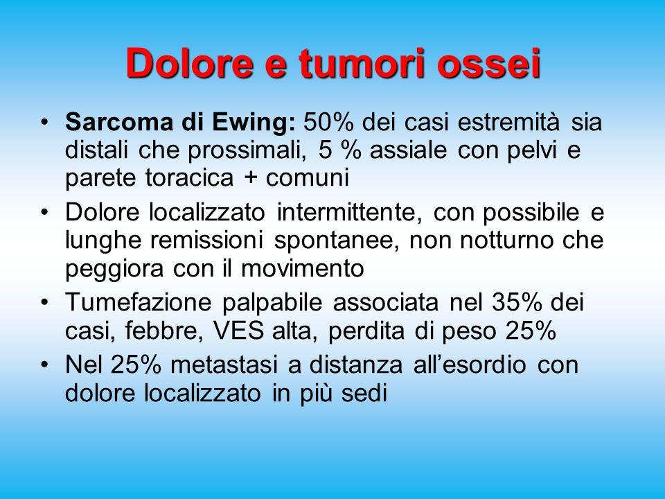 Dolore e tumori ossei Sarcoma di Ewing: 50% dei casi estremità sia distali che prossimali, 5 % assiale con pelvi e parete toracica + comuni Dolore localizzato intermittente, con possibile e lunghe remissioni spontanee, non notturno che peggiora con il movimento Tumefazione palpabile associata nel 35% dei casi, febbre, VES alta, perdita di peso 25% Nel 25% metastasi a distanza allesordio con dolore localizzato in più sedi