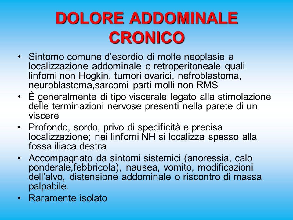 DOLORE ADDOMINALE CRONICO Sintomo comune desordio di molte neoplasie a localizzazione addominale o retroperitoneale quali linfomi non Hogkin, tumori o