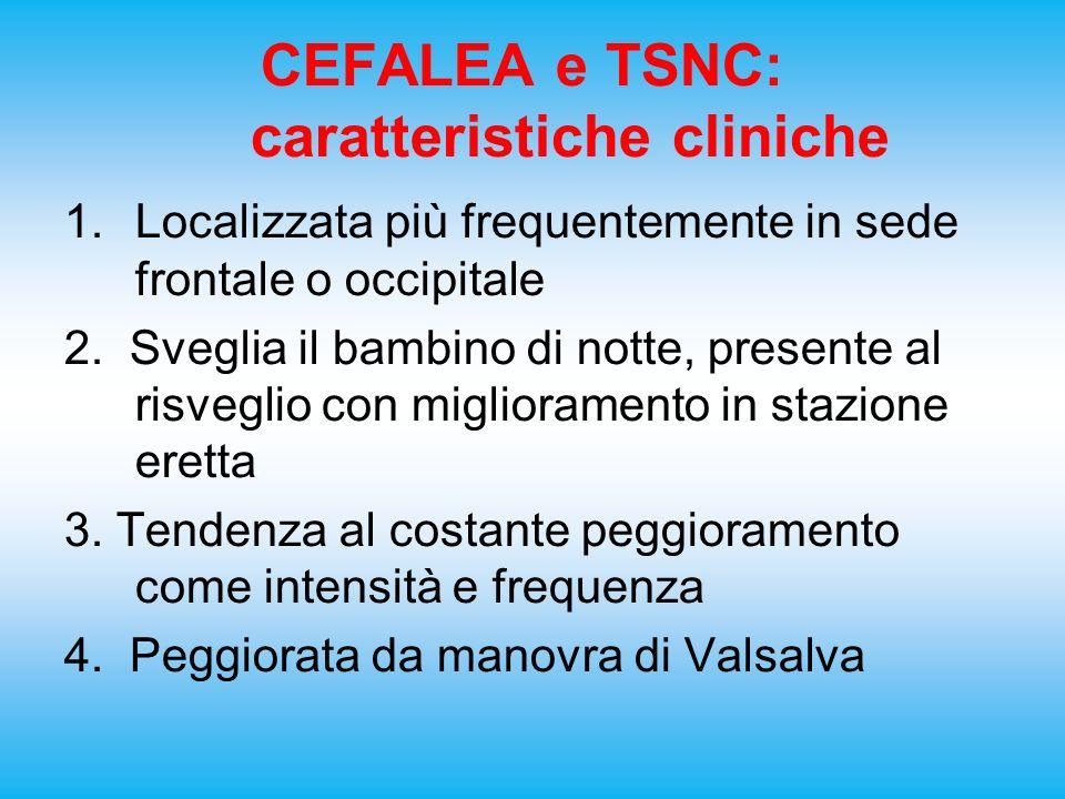 CEFALEA e TSNC: caratteristiche cliniche 1.Localizzata più frequentemente in sede frontale o occipitale 2. Sveglia il bambino di notte, presente al ri
