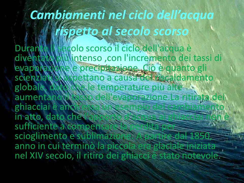 Cambiamenti nel ciclo dellacqua rispetto al secolo scorso Durante il secolo scorso il ciclo dell acqua è diventato più intenso,con l incremento dei tassi di evaporazione e precipitazione.