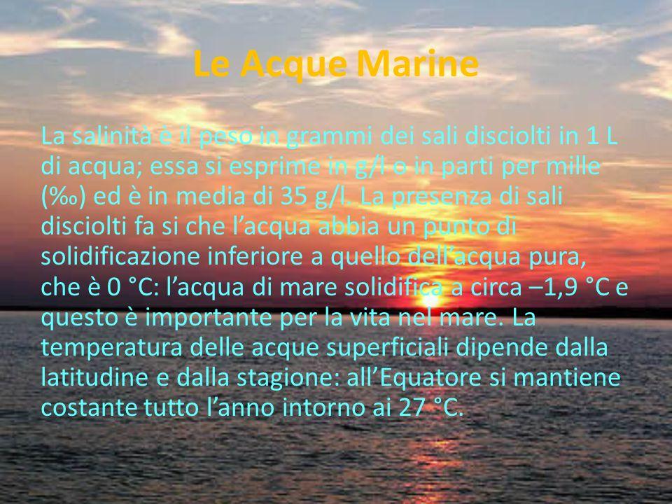 Le Acque Marine La salinità è il peso in grammi dei sali disciolti in 1 L di acqua; essa si esprime in g/l o in parti per mille () ed è in media di 35 g/l.