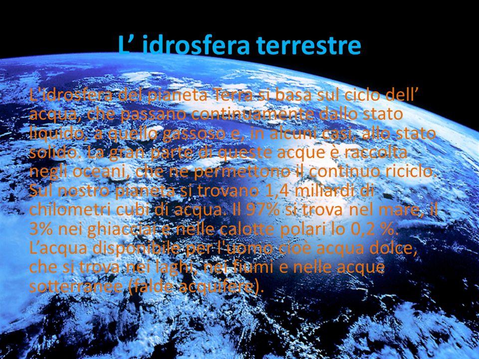 L idrosfera terrestre L idrosfera del pianeta Terra si basa sul ciclo dell acqua, che passano continuamente dallo stato liquido, a quello gassoso e, in alcuni casi, allo stato solido.