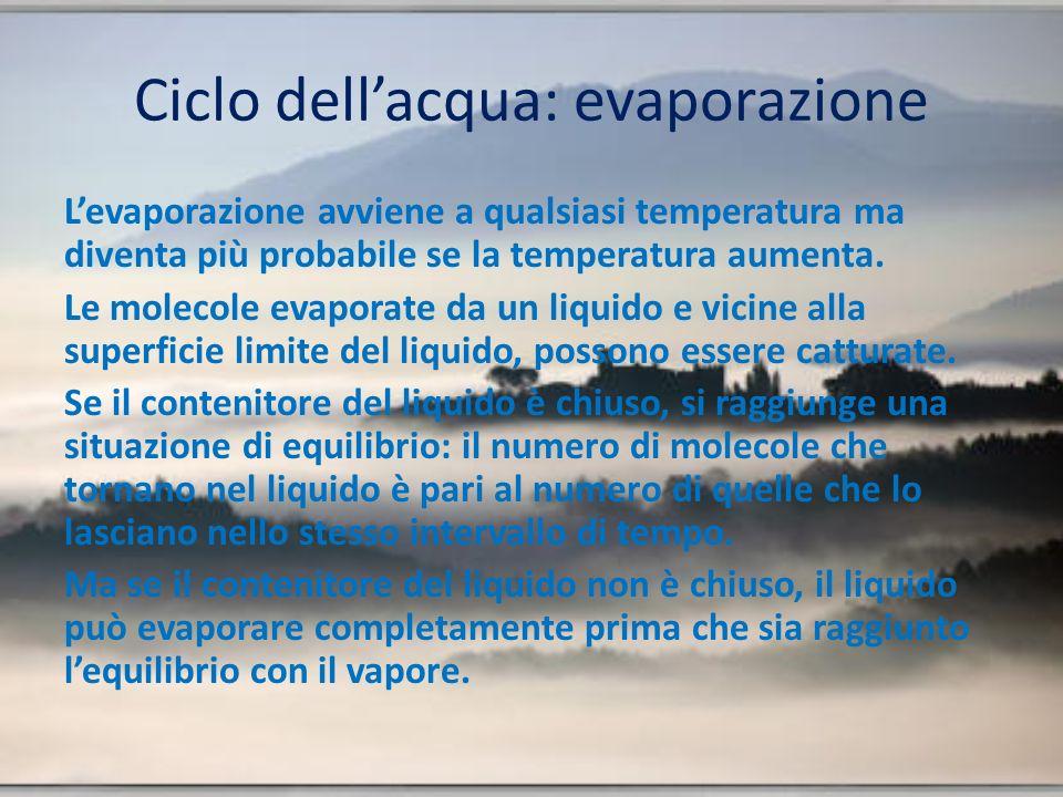 Ciclo dellacqua: evaporazione Levaporazione avviene a qualsiasi temperatura ma diventa più probabile se la temperatura aumenta.