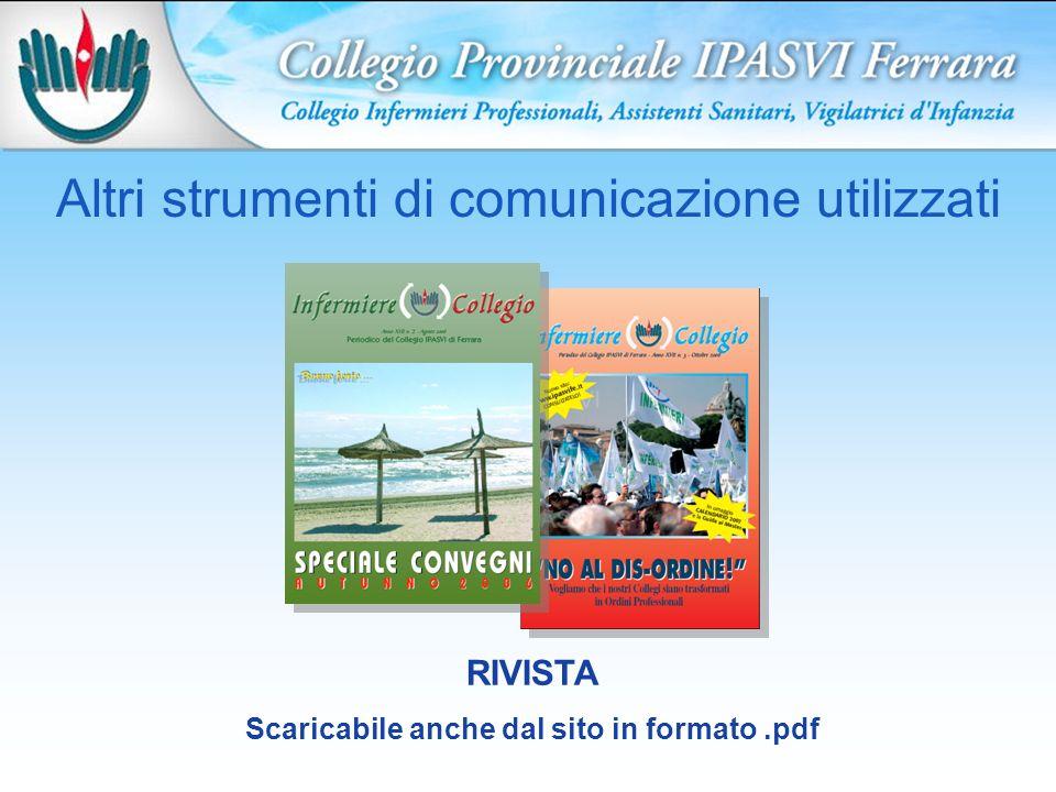 Altri strumenti di comunicazione utilizzati RIVISTA Scaricabile anche dal sito in formato.pdf