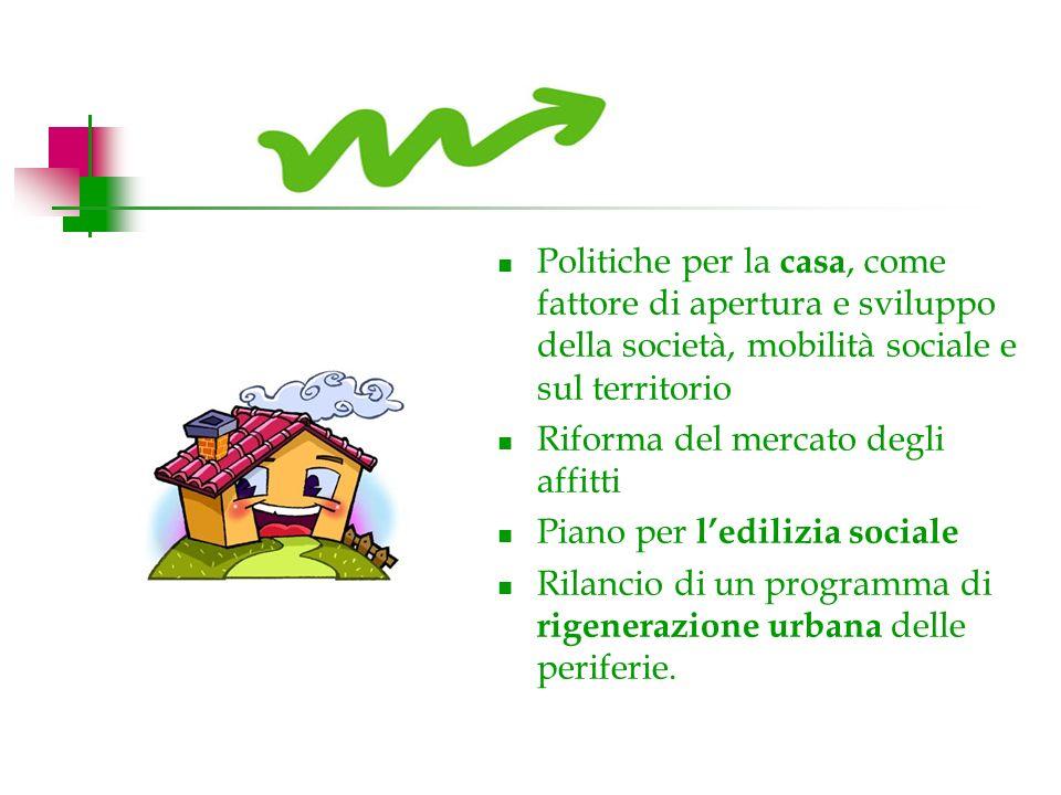 Politiche per la casa, come fattore di apertura e sviluppo della società, mobilità sociale e sul territorio Riforma del mercato degli affitti Piano per ledilizia sociale Rilancio di un programma di rigenerazione urbana delle periferie.