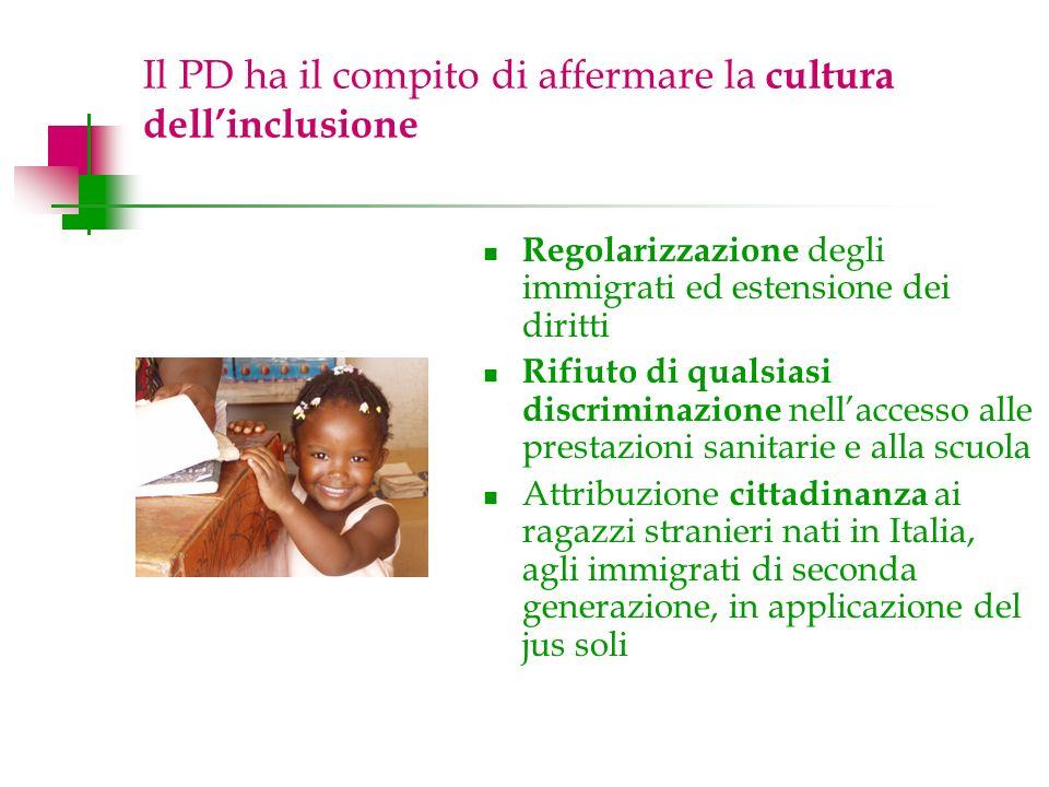 Il PD ha il compito di affermare la cultura dellinclusione Regolarizzazione degli immigrati ed estensione dei diritti Rifiuto di qualsiasi discriminazione nellaccesso alle prestazioni sanitarie e alla scuola Attribuzione cittadinanza ai ragazzi stranieri nati in Italia, agli immigrati di seconda generazione, in applicazione del jus soli