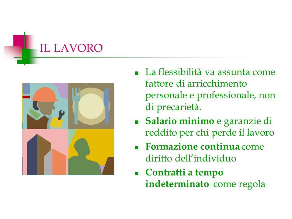 IL LAVORO La flessibilità va assunta come fattore di arricchimento personale e professionale, non di precarietà.