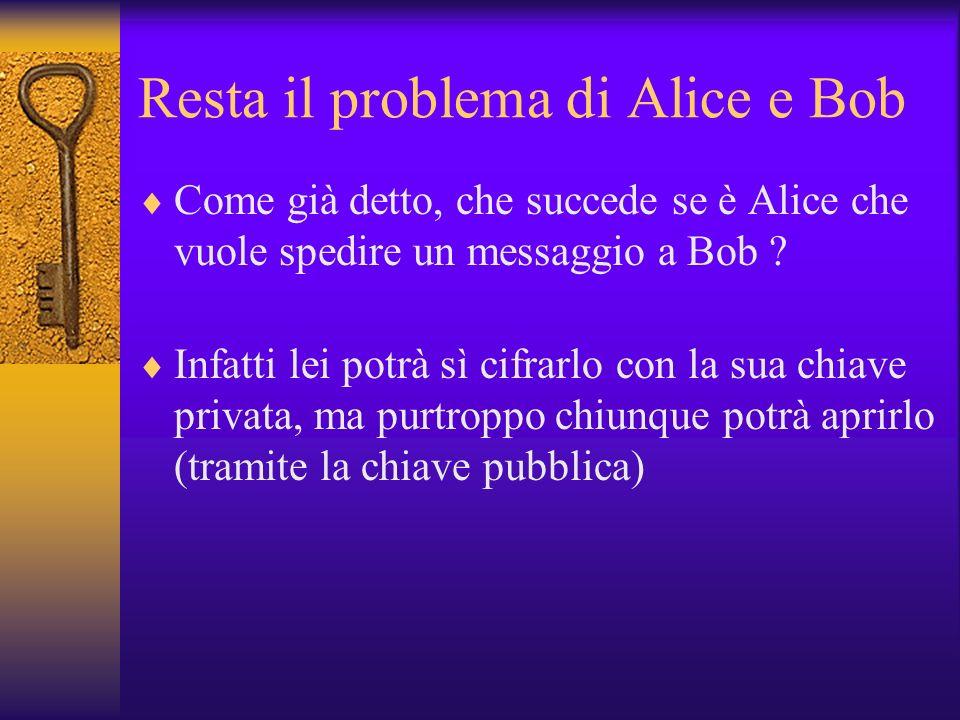 Resta il problema di Alice e Bob Come già detto, che succede se è Alice che vuole spedire un messaggio a Bob ? Infatti lei potrà sì cifrarlo con la su