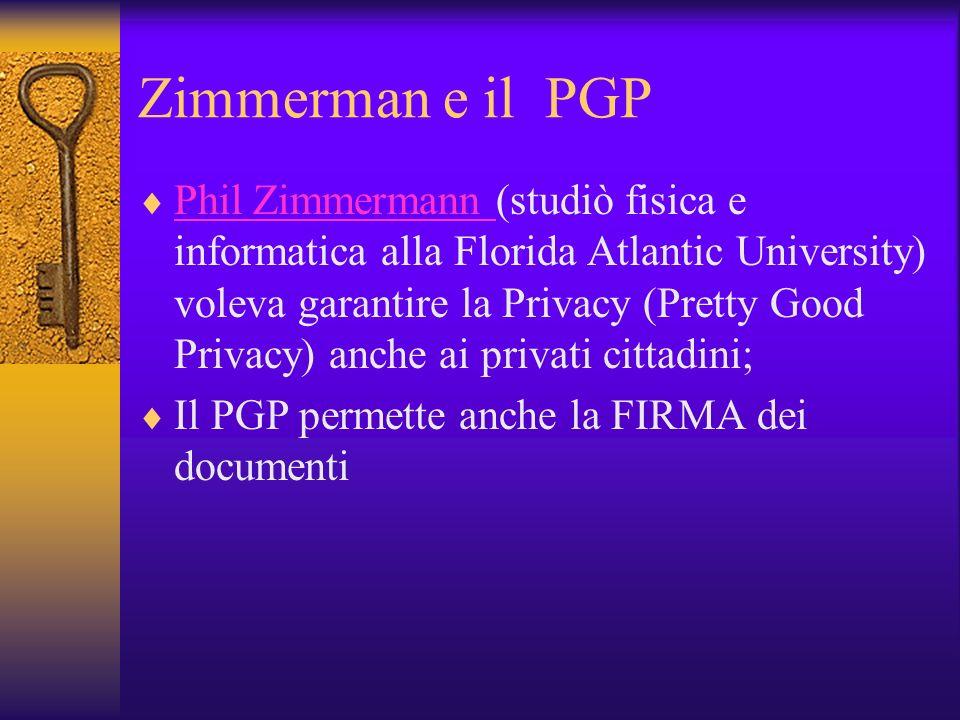 Zimmerman e il PGP Phil Zimmermann (studiò fisica e informatica alla Florida Atlantic University) voleva garantire la Privacy (Pretty Good Privacy) an