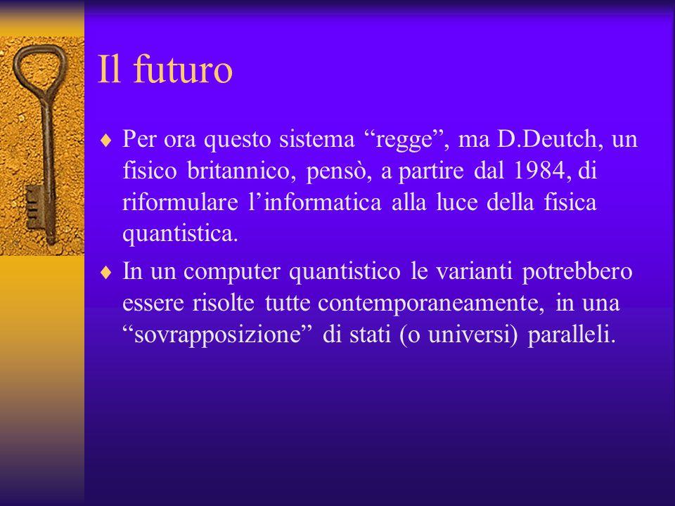Il futuro Per ora questo sistema regge, ma D.Deutch, un fisico britannico, pensò, a partire dal 1984, di riformulare linformatica alla luce della fisi