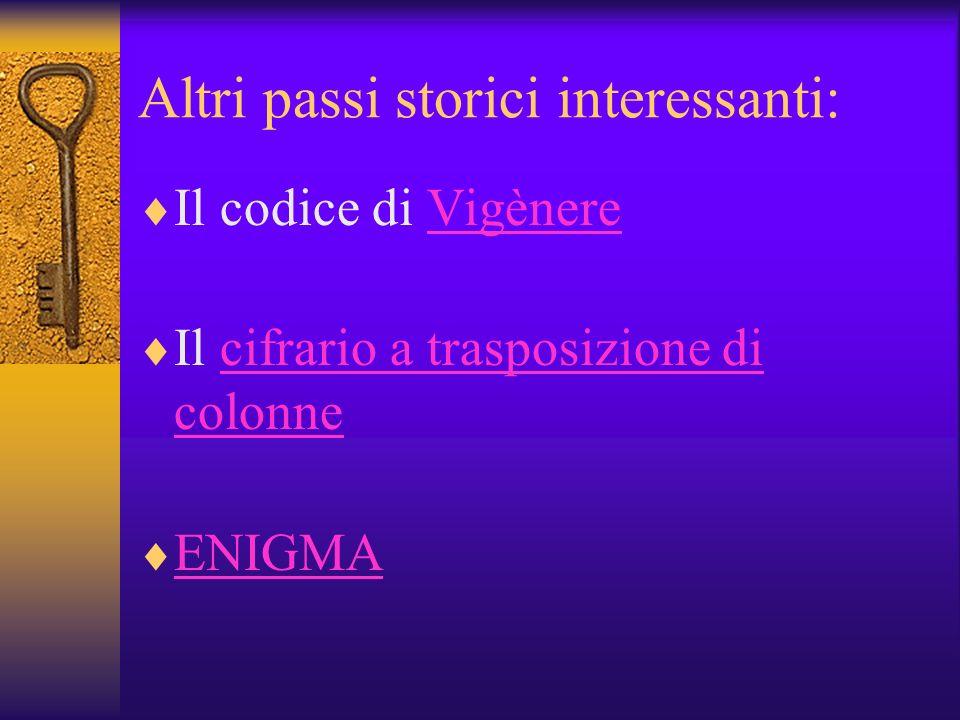 Altri passi storici interessanti: Il codice di VigènereVigènere Il cifrario a trasposizione di colonnecifrario a trasposizione di colonne ENIGMA