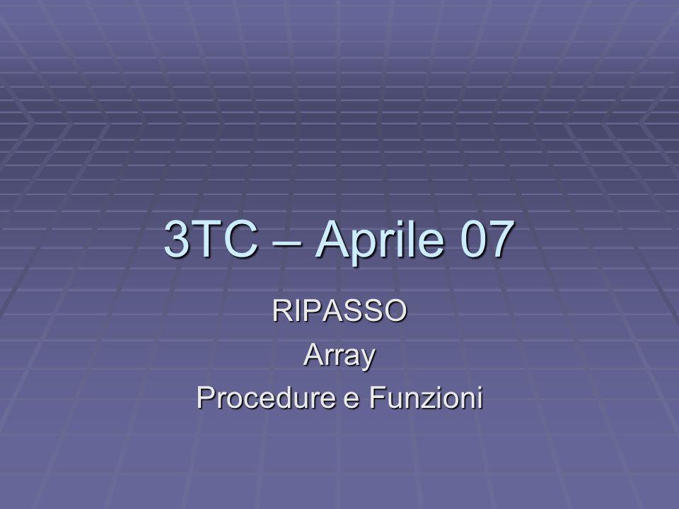 3TC – Aprile 07 RIPASSOArray Procedure e Funzioni