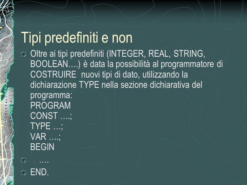 Tipi predefiniti e non Oltre ai tipi predefiniti (INTEGER, REAL, STRING, BOOLEAN….) è data la possibilità al programmatore di COSTRUIRE nuovi tipi di dato, utilizzando la dichiarazione TYPE nella sezione dichiarativa del programma: PROGRAM CONST ….; TYPE …; VAR ….; BEGIN ….