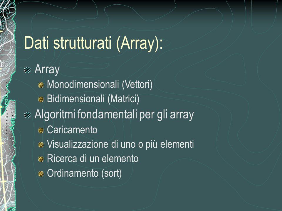 Array Monodimensionali (Vettori) Bidimensionali (Matrici) Algoritmi fondamentali per gli array Caricamento Visualizzazione di uno o più elementi Ricerca di un elemento Ordinamento (sort) Dati strutturati (Array):