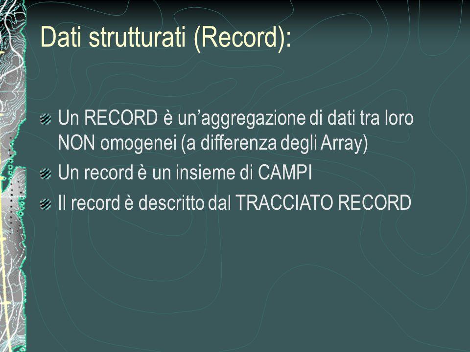 Un RECORD è unaggregazione di dati tra loro NON omogenei (a differenza degli Array) Un record è un insieme di CAMPI Il record è descritto dal TRACCIATO RECORD Dati strutturati (Record):