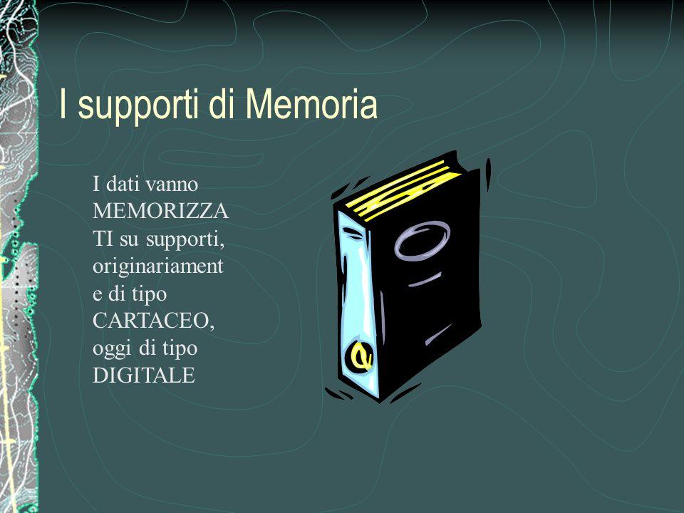 I supporti di Memoria I dati vanno MEMORIZZA TI su supporti, originariament e di tipo CARTACEO, oggi di tipo DIGITALE