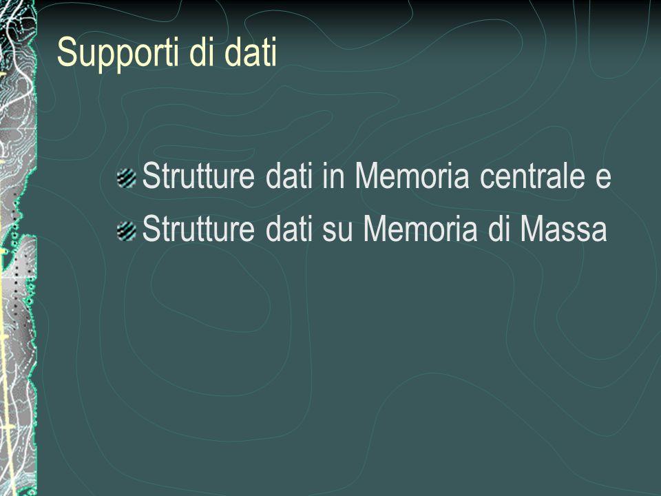 Strutture dati in Memoria centrale e Strutture dati su Memoria di Massa Supporti di dati