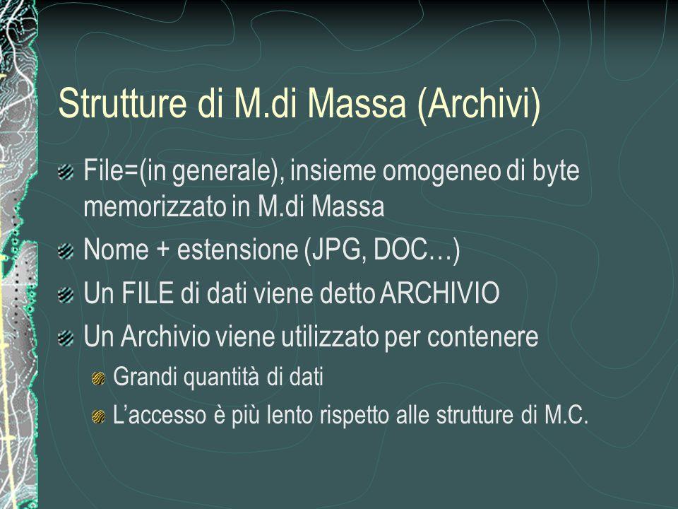 File=(in generale), insieme omogeneo di byte memorizzato in M.di Massa Nome + estensione (JPG, DOC…) Un FILE di dati viene detto ARCHIVIO Un Archivio viene utilizzato per contenere Grandi quantità di dati Laccesso è più lento rispetto alle strutture di M.C.