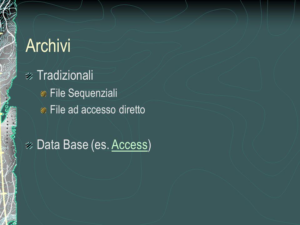 Tradizionali File Sequenziali File ad accesso diretto Data Base (es. Access)Access Archivi