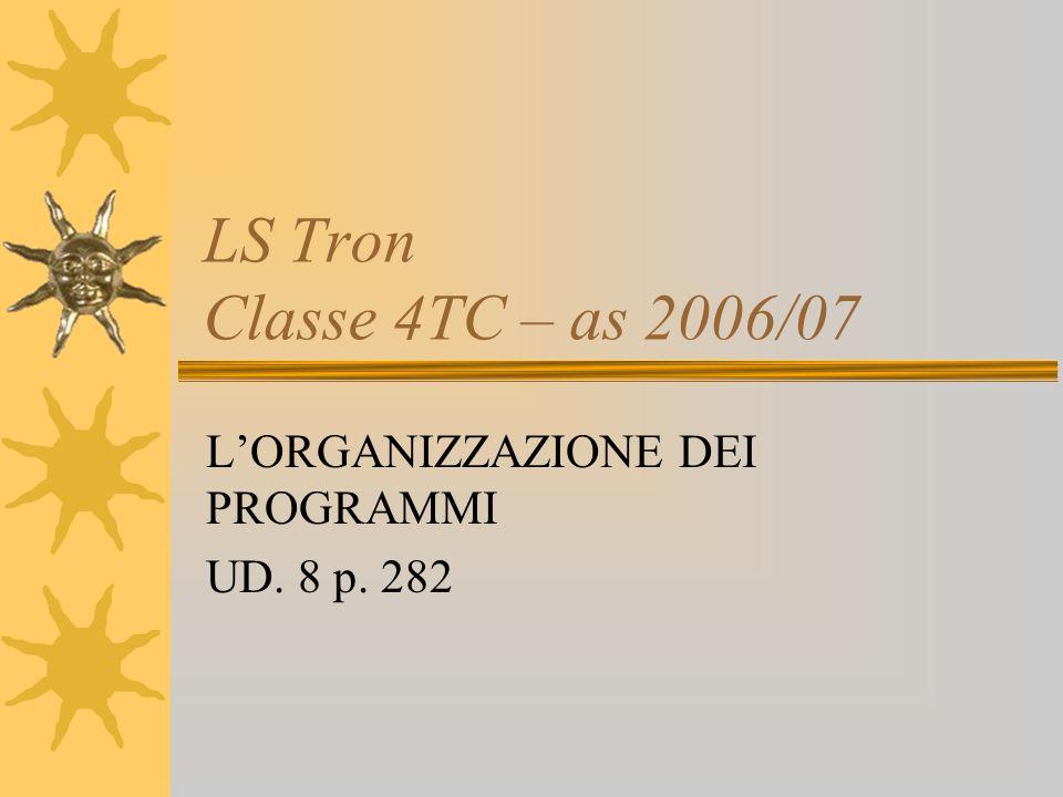 LS Tron Classe 4TC – as 2006/07 LORGANIZZAZIONE DEI PROGRAMMI UD. 8 p. 282