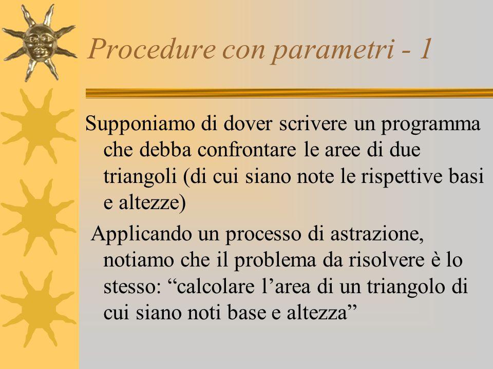 Procedure con parametri - 1 Supponiamo di dover scrivere un programma che debba confrontare le aree di due triangoli (di cui siano note le rispettive basi e altezze) Applicando un processo di astrazione, notiamo che il problema da risolvere è lo stesso: calcolare larea di un triangolo di cui siano noti base e altezza