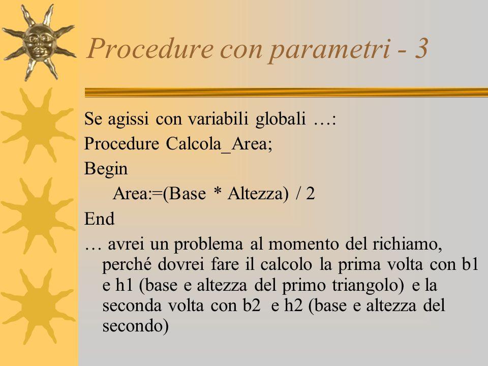 Procedure con parametri - 3 Se agissi con variabili globali …: Procedure Calcola_Area; Begin Area:=(Base * Altezza) / 2 End … avrei un problema al momento del richiamo, perché dovrei fare il calcolo la prima volta con b1 e h1 (base e altezza del primo triangolo) e la seconda volta con b2 e h2 (base e altezza del secondo)