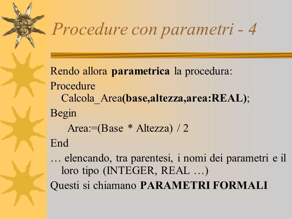 Procedure con parametri - 4 Rendo allora parametrica la procedura: Procedure Calcola_Area(base,altezza,area:REAL); Begin Area:=(Base * Altezza) / 2 End … elencando, tra parentesi, i nomi dei parametri e il loro tipo (INTEGER, REAL …) Questi si chiamano PARAMETRI FORMALI
