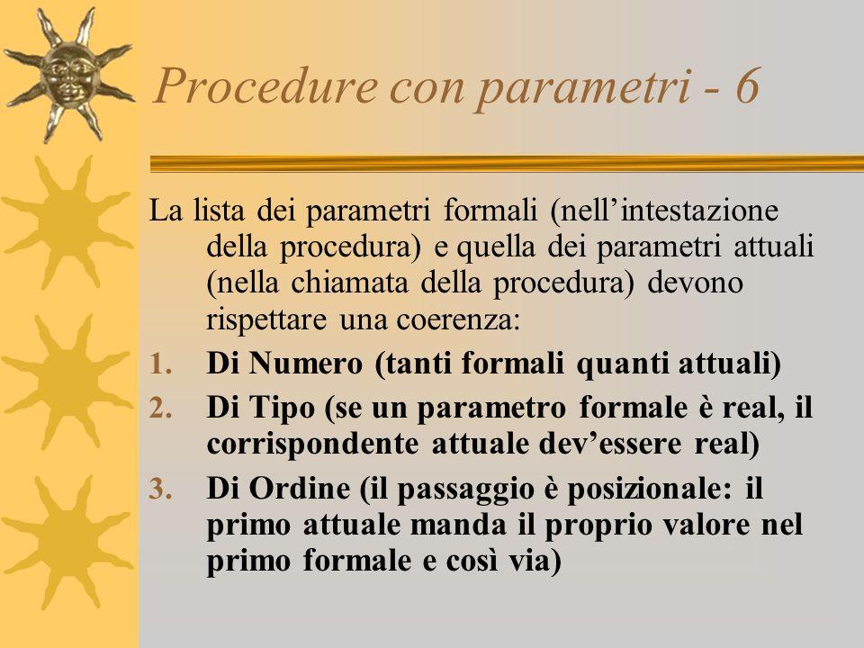 Procedure con parametri - 6 La lista dei parametri formali (nellintestazione della procedura) e quella dei parametri attuali (nella chiamata della procedura) devono rispettare una coerenza: 1.