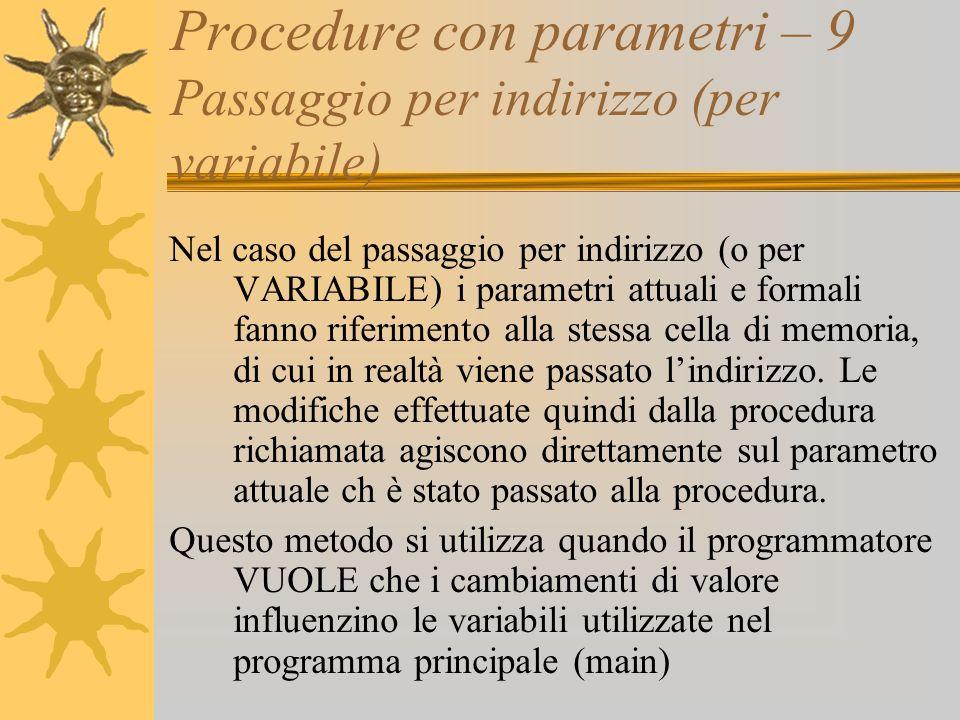 Procedure con parametri – 9 Passaggio per indirizzo (per variabile) Nel caso del passaggio per indirizzo (o per VARIABILE) i parametri attuali e formali fanno riferimento alla stessa cella di memoria, di cui in realtà viene passato lindirizzo.