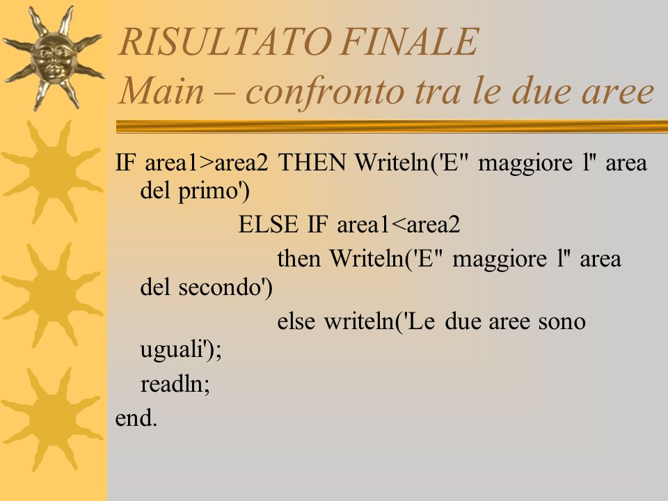 RISULTATO FINALE Main – confronto tra le due aree IF area1>area2 THEN Writeln( E maggiore l area del primo ) ELSE IF area1<area2 then Writeln( E maggiore l area del secondo ) else writeln( Le due aree sono uguali ); readln; end.