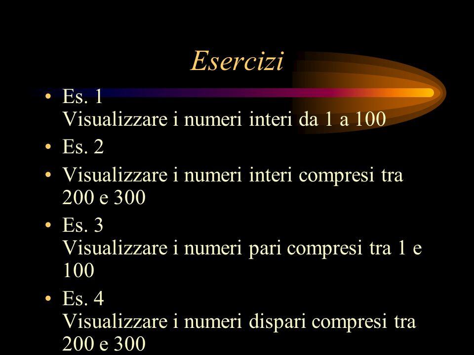 Esercizi Es. 1 Visualizzare i numeri interi da 1 a 100 Es. 2 Visualizzare i numeri interi compresi tra 200 e 300 Es. 3 Visualizzare i numeri pari comp